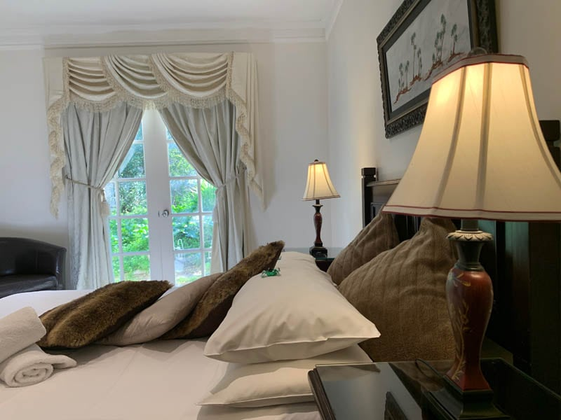 Bedroom of accommodation venue with spa